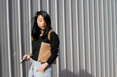 Shine by three - Margaret Zhang - leather shoulders and sweats