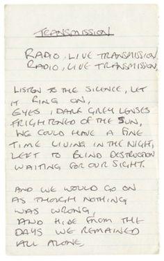 In Their Own Write: Handwritten lyrics by Nick Cave, David Bowie, Joey Ramone, Kate Bush and Nick Cave, Joy Division, Jim Morrison, David Bowie, Kurt Cobain, Dark Pop, Lyric Tattoos, Ian Curtis, Joey Ramone