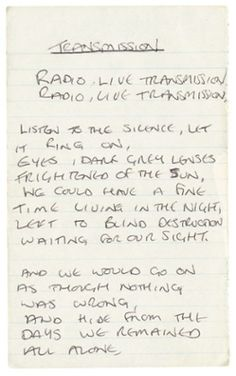 "Original handwritten lyrics for Joy Division's 1979 single ""Transmission"""