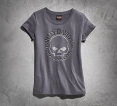 This limited edition tee is part of the Black Label Iconic Tee Collection. Commit now because this vintage inspired shirt will drive off soon.| Harley-Davidson Women's Skull Short-Sleeve Tee