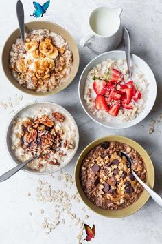How to Make Oatmeal -  This is a guide for how to make oatmeal on the stovetop and in the microwave, plus four ways to cus - #BreakfastRecipes #BrunchRecipes #HealthyBreakfasts #oatmeal<br> Oats Recipes, Gourmet Recipes, Real Food Recipes, Microwave Recipes, Cereal Recipes, Beef Recipes, Chicken Recipes, Fish Recipes, Vegetable Recipes
