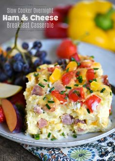 Slow Cooker Overnight Ham and Cheese Breakfast Casserole - Mom On Timeout