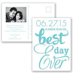 Photo Save the Date Postcard w/ Typography, two-sided, inexpensive at Invitations By David's Bridal