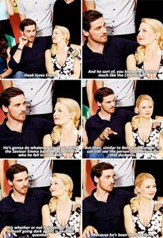 Colin O'Donoghue -Killian Jones - Captain Hook and Co Star Jennifer Morrison - Emma Swan on Once Upon A Time