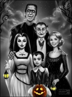 Another Creepy Family - The Munsters! Demonic Lily, her husband Herman, Grandpa, little Eddie and sweet Marilyn. Edit: I replaced colored picture to b&a. The Munsters Photo Halloween, Halloween Pictures, Halloween Art, Holidays Halloween, Vintage Halloween, Happy Halloween, The Munsters, Munsters Tv Show, Munsters House