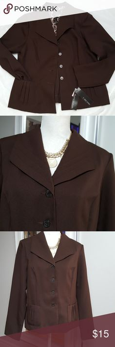🆕️ T. Milano Brown Blazer sz 10/12 Luvly stylish Blazer.  Tag says size 14, I purchased for myself as a 2 piece I kept the skirt. I'm a size 10 36DD & it buttons just fine.  I usually don't button my blazers all the way just showing you it can be done. See my meauremnt from pit to pit I believe may fit a size 12 as well C cup at the most. See last pic for small line discoloration,  very minor magnified because of close-up pic It will not fit a size 14 gal.  Shop with confidence I'm a Posh…