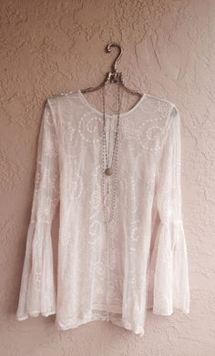 Rose pink lace Bohemian tunic mini dress with bell by BohoAngels, $80.00