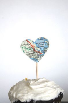 Vintage Map Heart Cupcake Toppers 50 pieces by thePathLessTraveled, $15.00