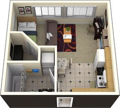 floor plan for studio apartment - switch bathroom & kitchen to use ...