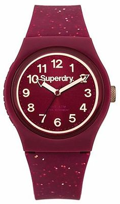 Womens berry superdry urban glitter strap watch from Lipsy - £29.99 at ClothingByColour.com