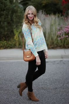My Wardrobe Staples : tribal/boho chic look with aztec sweater and fringe boots