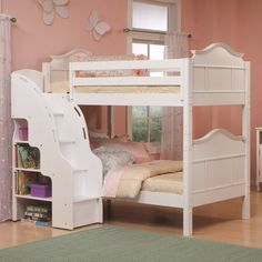Bedroom,  Enchanting Bunk Beds For Kids With Mattress With White Wooden Stairs Also Floating Storage Cabinet With Pink Color Walls Also Glossy  Tiles Flooring At Girls Teenage Bedroom Inspiring Ideas: The Best Bunk Beds For Kids Inspiring Ideas