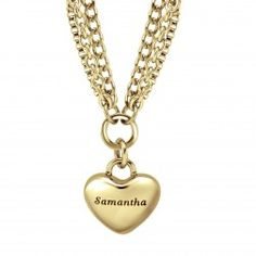 Stainless Steel Yellow Tone High Polished Multi Strand  Heart Charm Necklace - $100.00