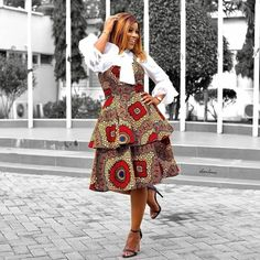 Formal Ankara Style With Layered Frock Ankara Short Gown Styles, Ankara Gowns, Short Gowns, Ankara Dress, Frock Images, Dress Images, Simple Frocks, African Fashion Traditional, Ankara Skirt And Blouse