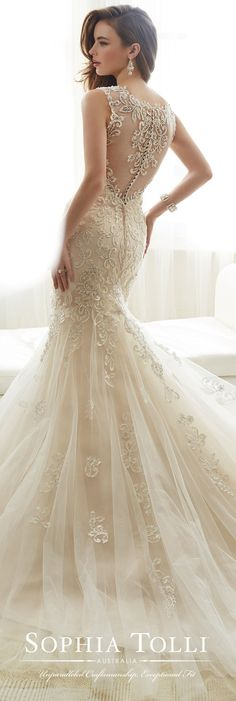 Wedding Dress Lace Sophia Tolli Spring 2017 Wedding Gown Collection - Style No. Amie - sleeveless tulle and lace fit and flare wedding dress with illusion back - Sophia Tolli wedding dresses feature unparalleled craftmanship and an exceptional fit Fit And Flare Wedding Dress, Perfect Wedding Dress, Dream Wedding Dresses, Bridal Dresses, Wedding Gowns, 2017 Wedding, 2017 Bridal, Trendy Wedding, Tulle Wedding