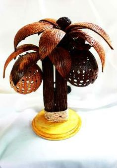 Coconut Tree Lamp, Coconut shell Craft Table Lamp Wholesale OEM Coconut shell lamp Manufacturer Supplier Exporter from Thailand