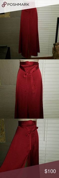 Nasty Gal wine color wide leg palazzo pants Nasty Gal wine color tied belted waist,with hide away zippered back, wide leg palazzo pants. Nasty Gal Pants Wide Leg
