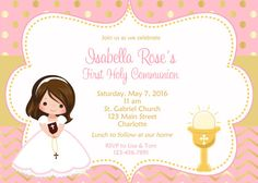 First Communion Invitation Holy Communion Invitation Holy Communion Chalice - Choose Girl Digital Invitations, Party Invitations, Holy Communion Invitations, First Holy Communion, For Your Party, Thank You Notes, Just Giving, Party Supplies, Give It To Me