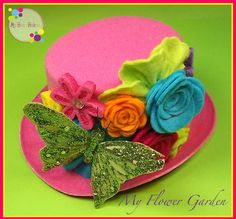 "New ""My Flower Garden"" Green Glitter Butterfly Multicolored Mini Felt Top Hat Spring Easter Prop Photo Shoot Girls Toddlers Tweens"