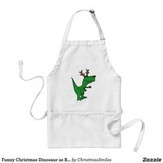Funny Christmas Dinosaur as Reindeer Adult Apron