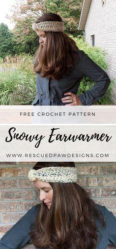 Snowy Earwarmer Crochet Pattern by Rescued Paw Designs - Make this easy beginner friendly pattern today!