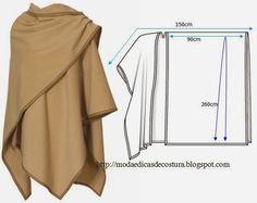 Cape Coat- Love it! With the measurements and diagram, I'm sure I can do this even if it is not in English :-) Moda e Dicas de Costura: TÚNICA FÁCIL DE FAZER - 2 Diy Clothing, Sewing Clothes, Clothing Patterns, Sewing Patterns, Poncho Patterns, Fashion Patterns, Sewing Hacks, Sewing Tutorials, Sewing Crafts