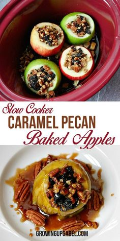 Pull out the Crock Pot and make pecan caramel slow cooker baked apples. Cook stuffed apples low and slow and then serve with ice cream and a caramel sauce made from the apple juices.