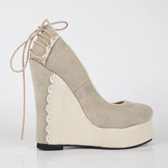 facde0d64e16 Comfortable Wedge Heel Apricot Suede High Heels