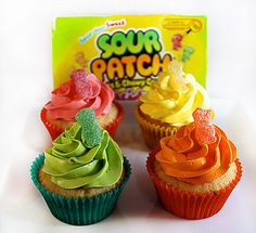 WOW... Sour Patch Kids cupcakes.