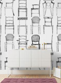 Einfach Nur Stühle Als Motiv: Tapete Gunnars Stolar Von Sandberg. Schönen  Kontrast Bildet Der