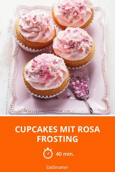 Cupcakes with pink frosting - smarter - time: 40 min. Easy Cupcake Frosting, Pink Frosting, Yummy Cupcakes, Vegan Cream Cheese Frosting, Chocolate Cream Cheese, Chocolate Flavors, Vanilla Frosting Recipes, Cupcake Recipes, Lemon Raspberry Cupcakes