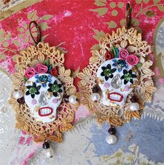 Lilygrace Calavera Earrings Cream Skull with by LilygraceOriginals, $45.00