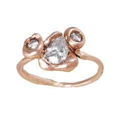 Rose Gold Press Set Diamond Ring by Blair Lauren Brown at Love Adorned - Lauren Brown, Pear Shaped Diamond, Baguette Diamond, Jewelry Design, Designer Jewelry, Heart Ring, Wedding Rings, Rose Gold, Engagement Rings