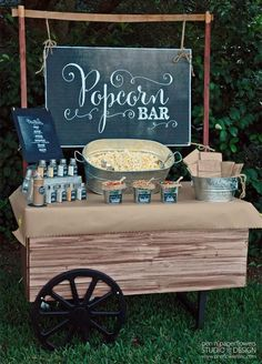 Popcorn bar with dif salts. long last I am finally posting the pictures of the re-styled Rustic Popcorn Bar I created for our. Rustic Wedding, Wedding Reception, Our Wedding, Dream Wedding, Wedding Snack Bar, Wedding Catering, Wedding Popcorn Bar, Trendy Wedding, Reception Food