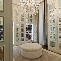 custom, luxury, walk in, closet, chandelier, fur, faux, mirror