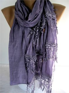 Big SALE 9.90 USD   Elegant  Scarf with Lace Edge by MebaDesign, $9.90