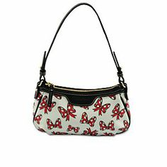 Disney Minnie Mouse Bow Patty Pouchette Bag by Dooney & Bourke | Disney StoreMinnie Mouse Bow Patty Pouchette Bag by Dooney & Bourke - Our Dooney & Bourke pouchette bag features a whimsical print of Minnie's trademark polka dot bow. With designer styling and interior leather strap, this fine fashion handbag ties a little bow of Disney fun onto your day!
