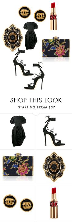 """""""The asymmetrical dress formal"""" by leg2003366 ❤ liked on Polyvore featuring Simone Rocha, Dsquared2, Judith Leiber, Gucci, Chanel and Yves Saint Laurent"""