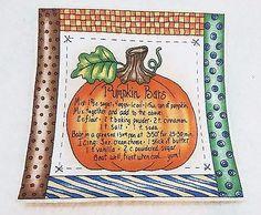 "Vintage Thanksgiving Fall ""Pumpkin Bars""  Applique Iron On  7 x 7"