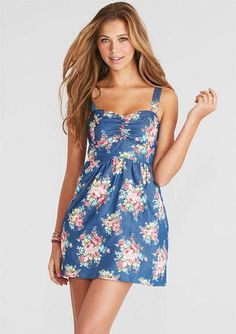 Sleeveless allover floral print sweetheart chambray dress. Smocked back for better fit. *sookie style*
