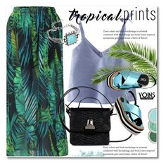 """Tropical prints"" by svijetlana ❤ liked on Polyvore featuring MM6 Maison Margiela and Bare Escentuals"