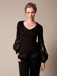 Wool Embellished Organza Sleeve Sweater by Carolina Herrera 499.00
