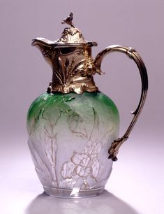 """Magickal Ritual Sacred Tools:  Gorham #pitcher, France, circa 1900, signed """"Daum, Nancy."""" Beautiful for filling a chalice or pouring a libation."""