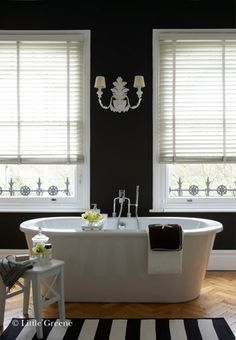black bathroom... so glamorous! Little greene <3