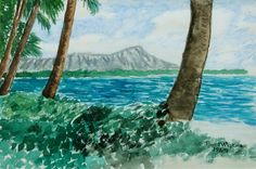 """Diamond Head - Oahu, Hawaii"" by Paul McGehee Waikiki Beach, Oahu Hawaii, Diamond Head Hawaii, Hawaii Painting, Volcano, Watercolor Paintings, Scene, Artist, Travel"