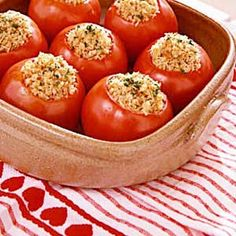 I love the idea of seeding the tomatoes and drizzling balsamic vinegar inside 30 min before stuffing. Maybe broil for a few minutes if baking instead of grilling. I am guessing Gruyere or Blue Cheese would also be amazing! Tomato Dishes, Veggie Dishes, Side Dishes, Vegetarian Stuffed Peppers, Stuffing Ingredients, Tasty, Yummy Food, Cooking Recipes, Healthy Recipes