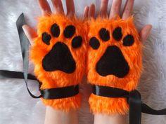 Cute Ginger Orange Furry Wolf Fox Dog Neko Cat Black Paw Print Fingerless Gloves Wrist Warmers Halloween Costume Cosplay Festival