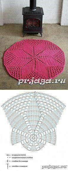 Super ideas for crochet rug zpagetti Crochet Diy, Filet Crochet, Mandala Au Crochet, Crochet Doily Rug, Crochet Rug Patterns, Crochet Carpet, Crochet Doily Patterns, Crochet Diagram, Crochet Squares