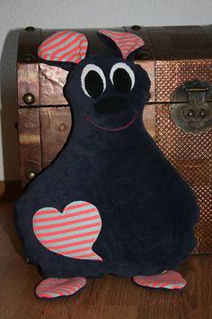 Kuscheltier Flauschi dunkelblau mit Tasche auf