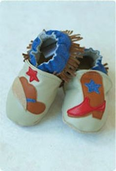 Cute cowboys         They'll have fun learning to walk around in these shoes. Made from high quality leather with soft suede soles.        Slip onstay on design works well with or without socks. Breathable and comfortable year round.        Handmade in Park City, Utah